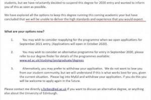 爱丁堡大学撤销部分专业2020年入学