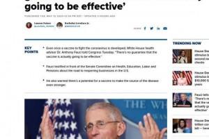 双语福奇说了个坏消息不能确保疫苗真的会有用